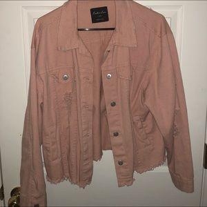 Light pink denim distressed jacket